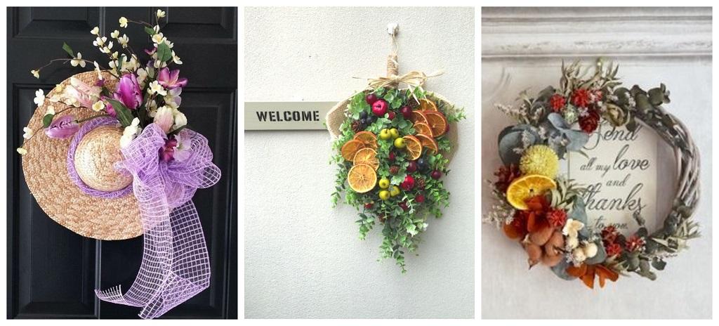 cvijeće na vratima; šešir, vijenac