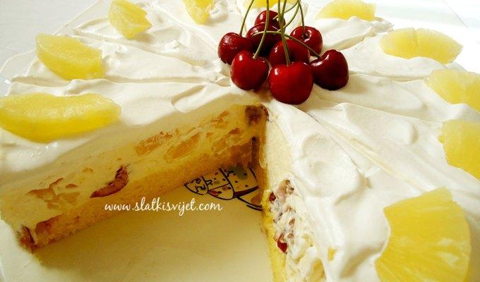 Voćna torta od trešanja i ananasa, osvježavajuća torta