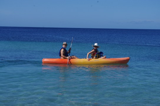 Kayaking in Grenadines - babymoon with toddler
