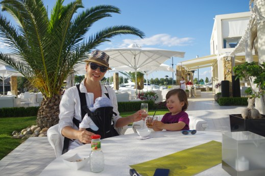 Greece with toddler and baby - Sani beach bar