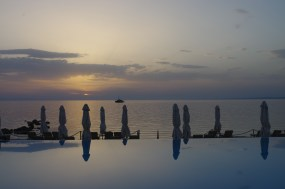 Sani beach pool - sunset
