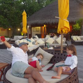 Maldives with toddler and child - dinner on the beach