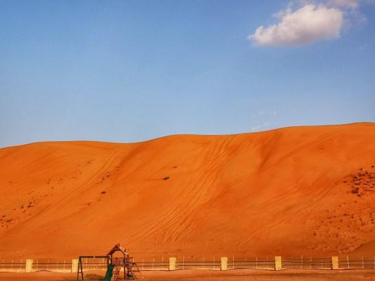 Desert camp Oman Wahiba Sands: Arabian Oryx playground at sunset