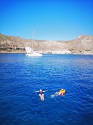 Swimming Santorini with kids