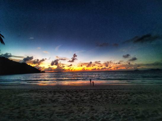 Seychelles with children - sunset Petite Anse Four Seasons Mahe