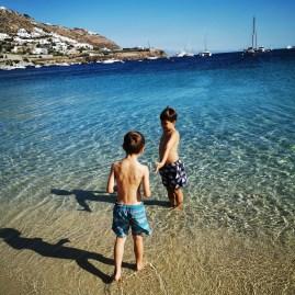 Ornos beach with kids