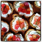 Roasted Beet, goat cheese & fennel fronds on glutenfree crostini