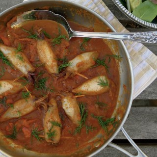 Mediterranean Stuffed Baby Squid, Braised in a Red Pepper Tomato Sauce (guest post)