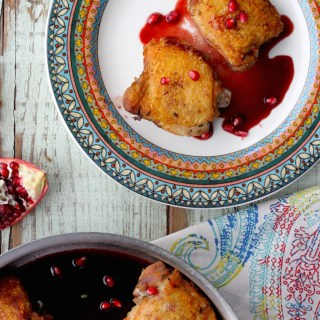 Crispy Chicken Thighs with Pomegranate Sauce + a Rosh Hashanah Round-Up