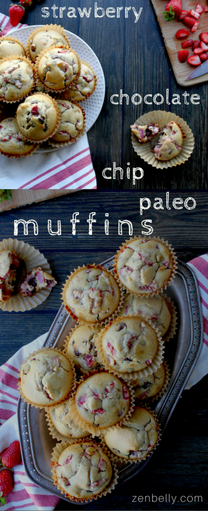 paleo strawberry chocolate chip muffins