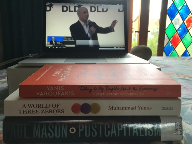 The pile of books on Dale's table