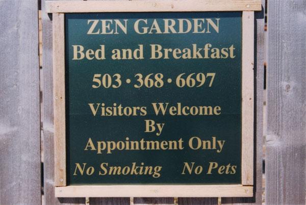 Zen Garden Bed and Breakfast informational sign