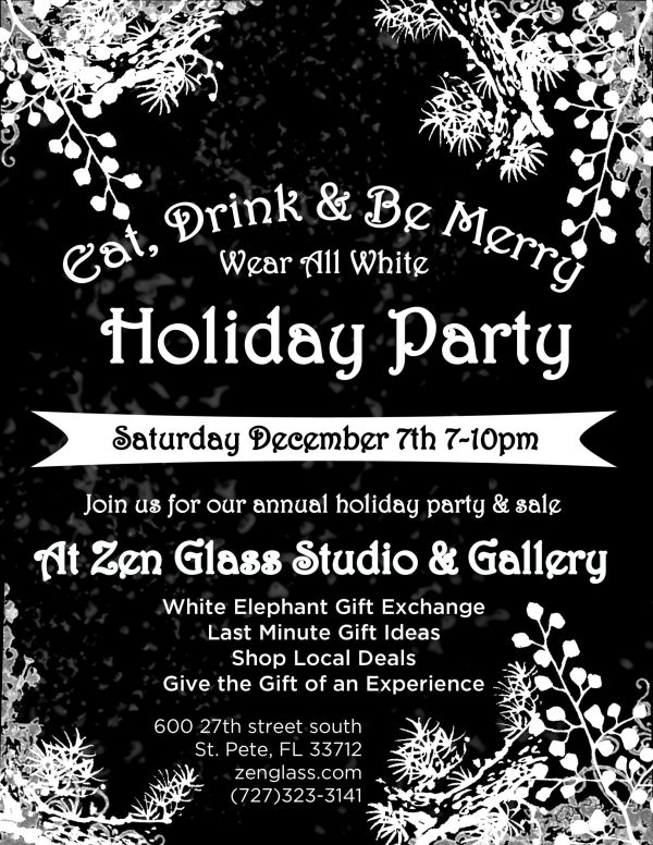 zen glass holiday party & sale