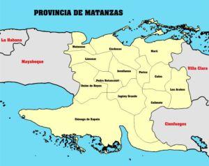 Mapa de Cuba - provincia de Matanzas