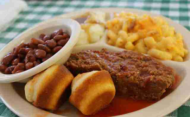Meatloaf, Mac n Cheese, Mashed Potatoes and Gravy, Pinto Beans and Corn Muffins at Dot's Soul Food