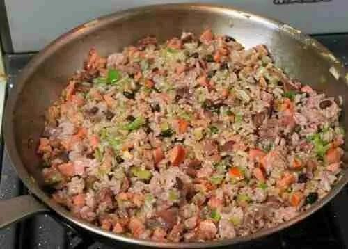Korean-Cajun Dirty Rice and BBQ'd Shrimp