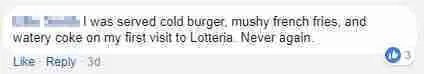 I was served cold berger, mushy frnech fries, and watery coke on my first visit to Lotteria. Never again.