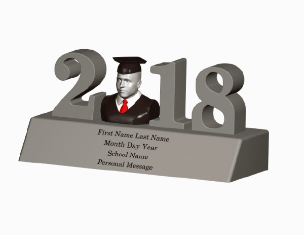 Home Decor-2018 Graduation Figurine Sculpture Statue 3D Portrait Graduation 3D Photo Graduation Photo 3D Home Decor - 2018 Graduation Figurine Sculpture Statue Shirt and Tie Small Graduation Gift Idea for Him Unique Graduation Gift for Him Graduation 3D Selfie