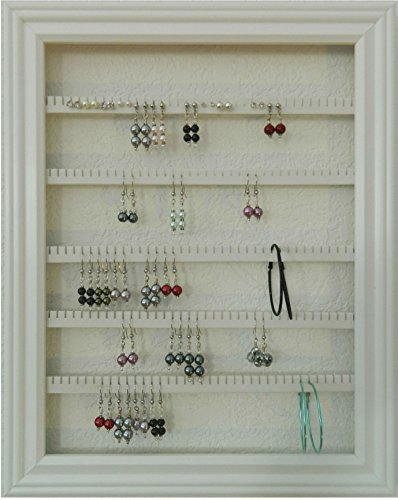 earring holder organizer storage jewelry rack wall mounted picture frame hanging jewelry display available in 4 colors white large