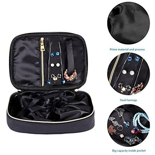 Small Black Zippered Jewelry Pouch Travel Case Organizer