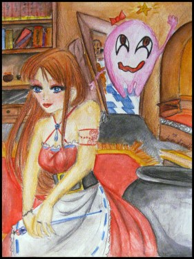 Old Watercolor Pencil Painting of a witch and her familiar.