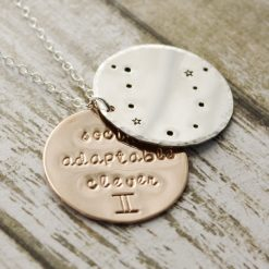 Gemini zodiac constellation necklace with traits in sterling silver and gold