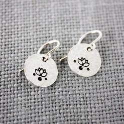 Lotus flower dangle earrings in sterling silver, brass or copper
