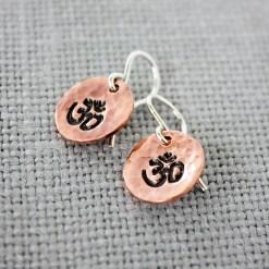 OM dangle earrings in copper, brass or sterling silver