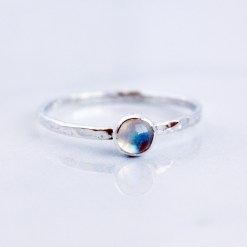 Crown chakra sterling silver and rainbow moonstone stacking ring