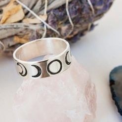 Moon phase Sterling silver ring