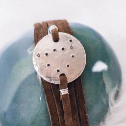 Capricorn constellation leather wrap bracelet