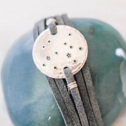 Sagittarius constellation leather wrap bracelet