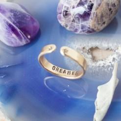 Dreamer brass skinny stacking ring