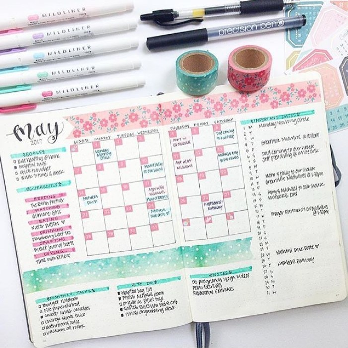 bullet journal page ideas, bullet journal weekly spread,