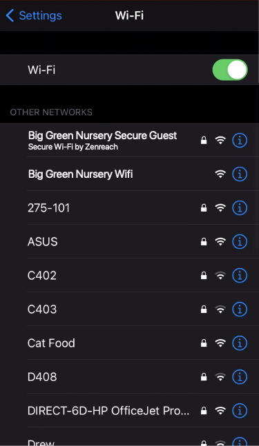 Depiction of available WiFi networks list in an iPhone showing Secure WiFi by Zenreach as an example