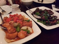 Sweet & Sour Chicken and Mongolian Beef from P.F. Chang's. The beef was cooked to perfection.