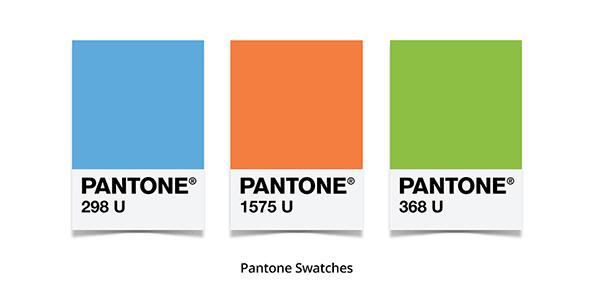 Trois couleurs et leur code unique Pantone
