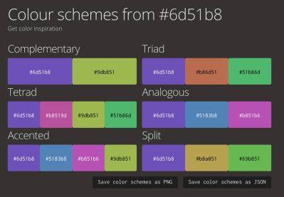 Propositions de palettes de RGB to