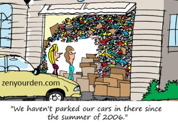 Cartoon of packed garage by Kelly Kamowski