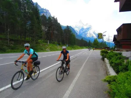 Dolomites 2015 Lynn and Susie lead the pack on the way back to our Cortina d'Ampezzo hotel
