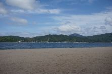 Pristine beach facing the Ine Bay on the sandbar