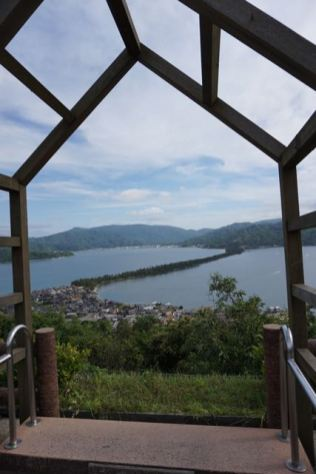 Platform to view Amanohashidate using a 1,000 year old practice