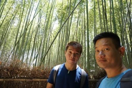 Taking a wefie in Arashiyama Bamboo Grove