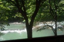 Hozugawa River viewed from Sagano Scenic Railway