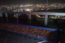 Love locks on Umeda Sky Building