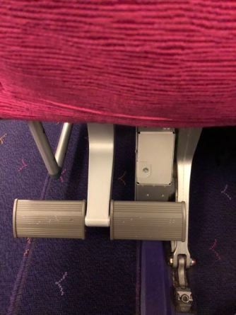 Footrest in Economy Class seat onboard Thai Airways A380