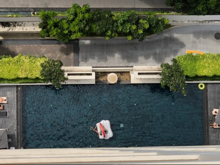 View of the pool from my balcony