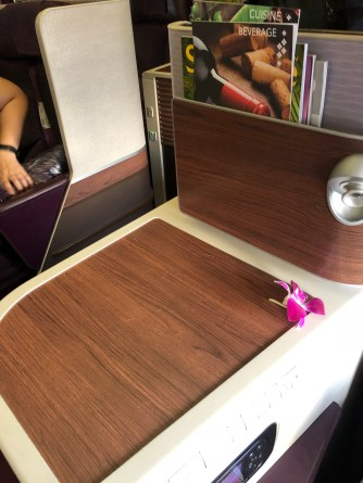 Side table onboard Thai Airways B777-300ER Business Class