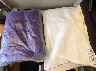 Pillow and blanket are available in the Economy Class cabin