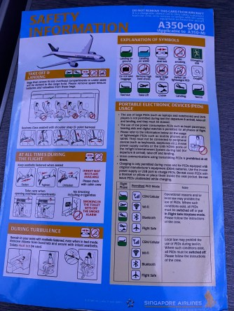 Singapore Airlines A350-900 safety card